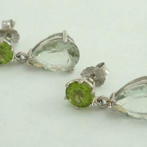925 Peridot & Aquamarine Dangle Drop Stud Earrings